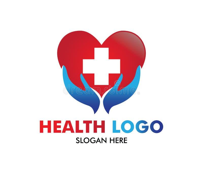 Vectorembleemontwerp voor gezondheidszorg, familie gezonde kliniek arts, wellnesscentrum, drogisterij, medische kliniek, royalty-vrije illustratie
