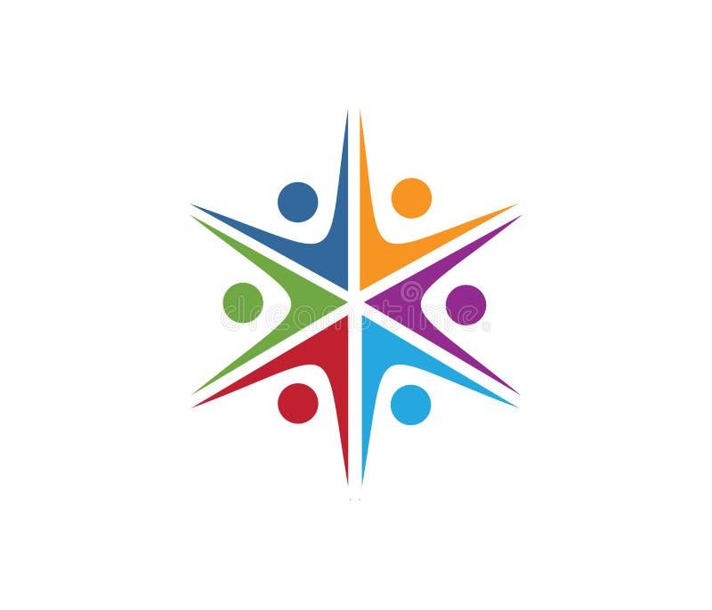 Vectorembleemontwerp voor kinderen die, communautaire organisatie, de sportconcurrentie, de familie van de vennootschapsolidarite stock illustratie
