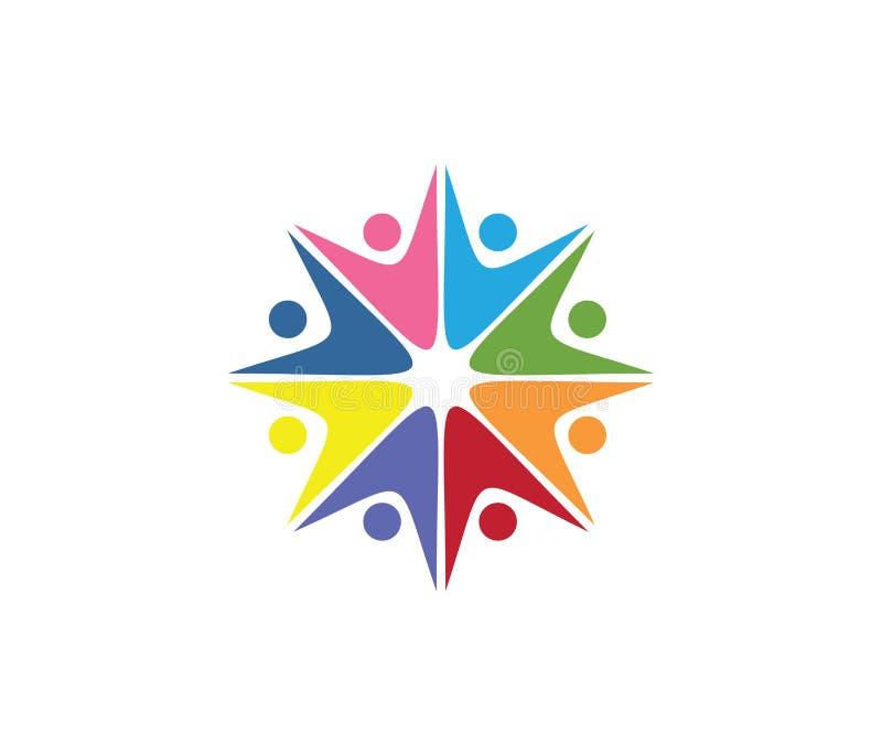Vectorembleemontwerp voor kinderen die, communautaire organisatie, de sportconcurrentie, de familie van de vennootschapsolidarite vector illustratie