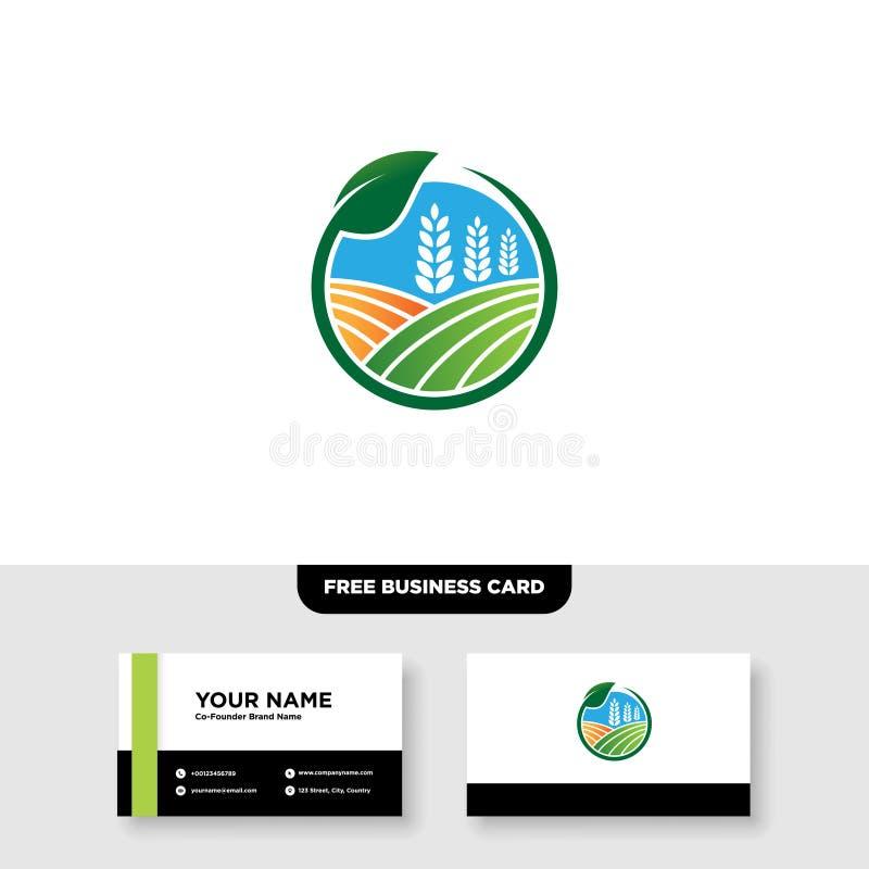 Vectorembleemontwerp voor landbouw, agronomie, landelijk de landbouwgebied van het land, natuurlijke oogst vector illustratie
