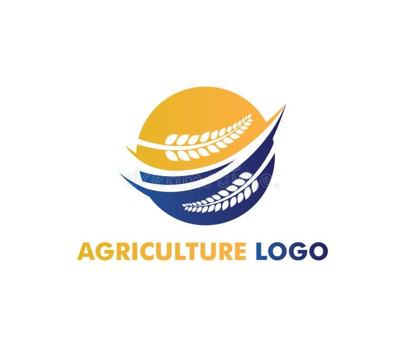 Vectorembleemontwerp voor landbouw, agronomie, tarwelandbouwbedrijf, landelijk de landbouwgebied van het land, natuurlijke oogst royalty-vrije illustratie