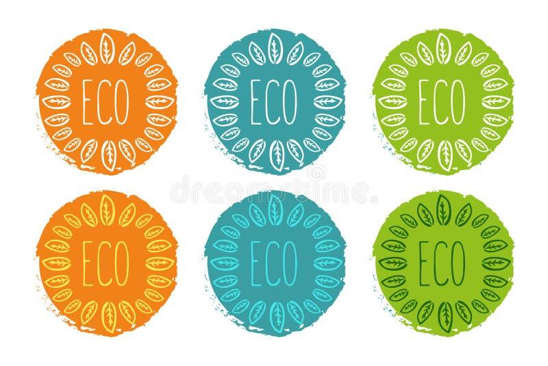 Vectorembleemreeks etiketten in oranje, groene en blauwe kleuren vector illustratie