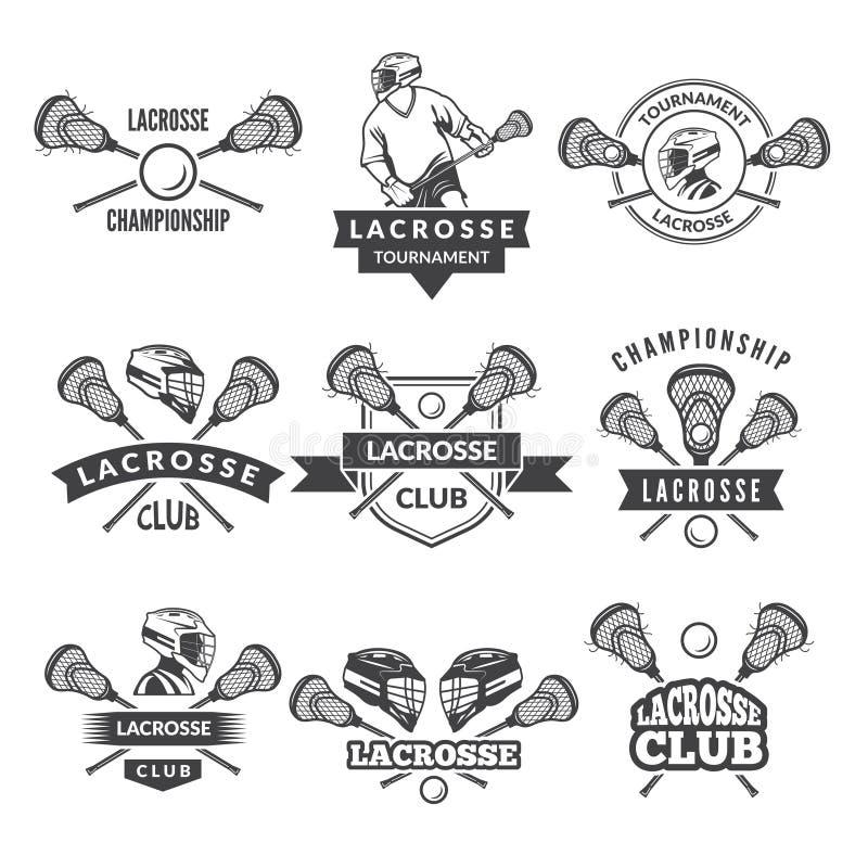 Vectoremblemen of etiketten voor lacrosseteam in sportuniversiteit royalty-vrije illustratie