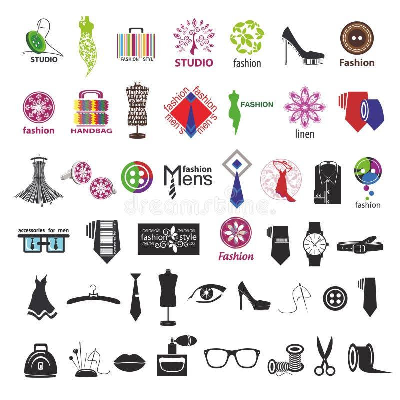 Vectoremblemen voor kleding en maniertoebehoren stock illustratie