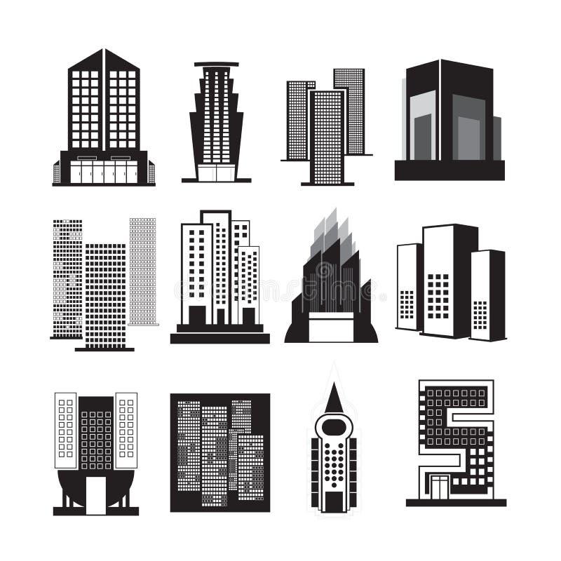 Vectoren die geplaatste zwarte bouwen op witte achtergrond stock illustratie