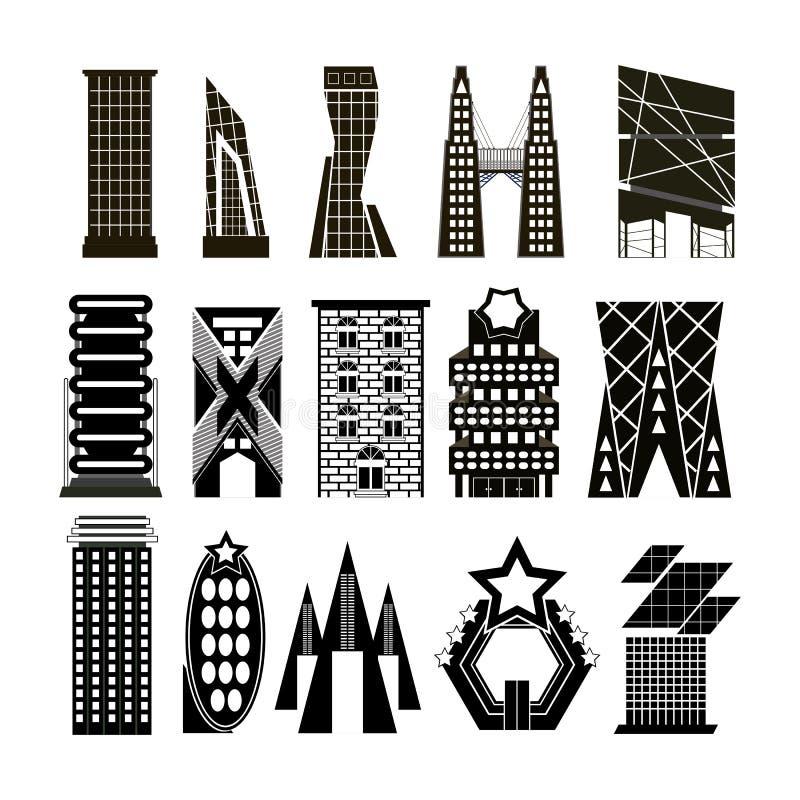Vectoren geplaatst zwart-witte de bouw stock illustratie