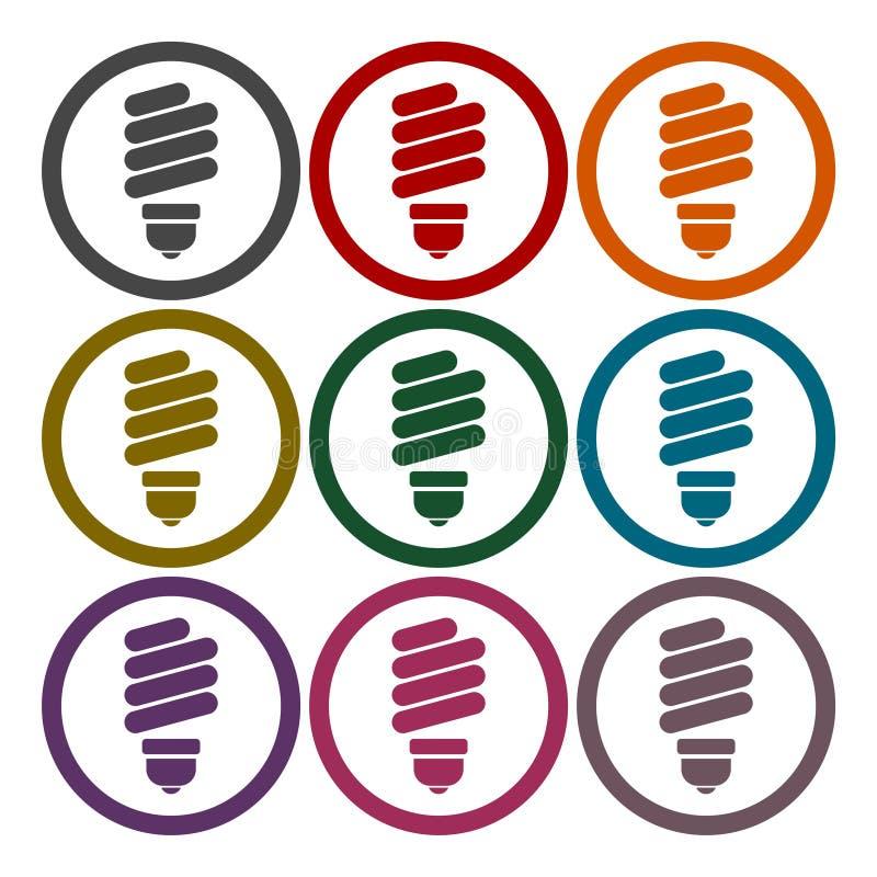 Vectorenergie - geplaatste de pictogrammen van de besparings gloeilamp royalty-vrije illustratie