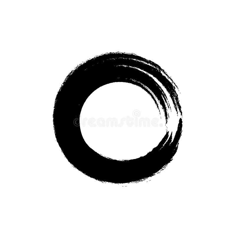Vectorenso-Cirkelpictogram, Roud-de Slag van de Vormborstel, Zen Symbol stock illustratie