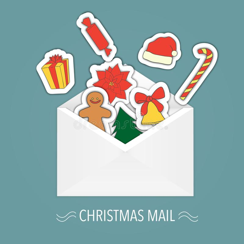 Vectorenvelop met Kerstmis binnen stickers vector illustratie