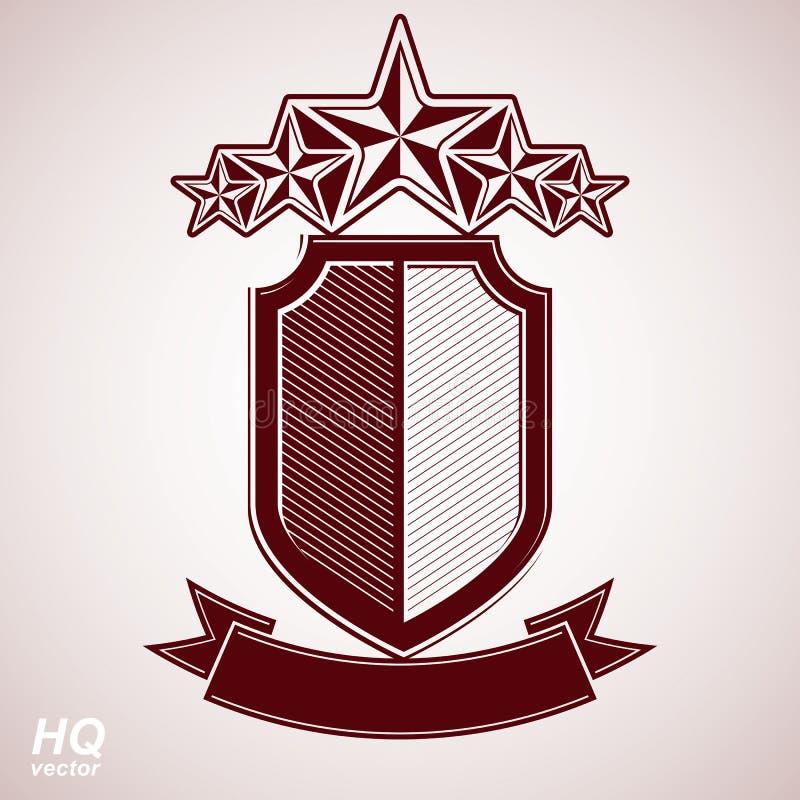 Vectoreps8 aristrocratisch symbool Feestelijk grafisch schild met vijf sterren en curvy lint - het decoratieve malplaatje van de  vector illustratie