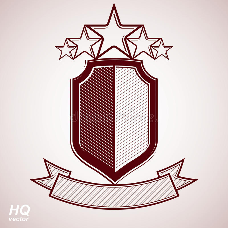Vectoreps8 aristrocratisch symbool Feestelijk grafisch schild met vijf sterren en curvy lint - het decoratieve malplaatje van de  stock illustratie