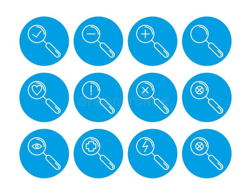 Vectoreps 10 Reeks onderzoekspictogrammen Communicatie pictogrammen Contacteer ons pictogrammen stock illustratie