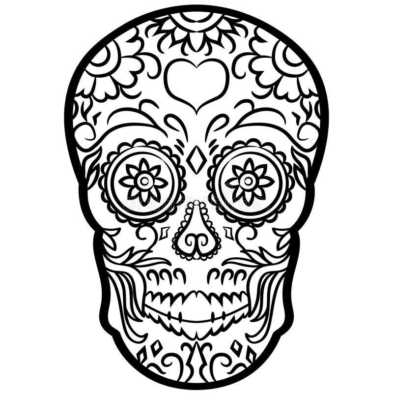 Vectoreps van de suikerschedel getrokken Hand, Vector, Eps, Embleem, Pictogram, silhouetillustratie door crafteroks voor verschil royalty-vrije illustratie