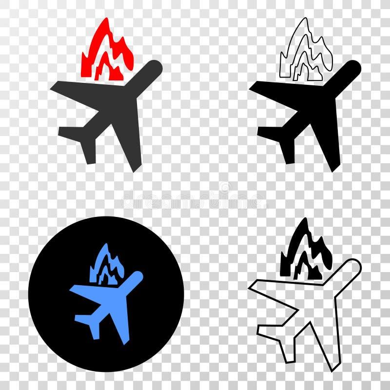 Vectoreps van de vliegtuigneerstorting Pictogram met Contourversie stock illustratie