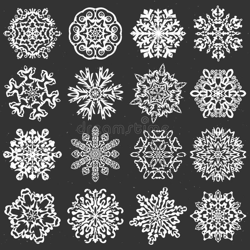 Vectores de la tiza del copo de nieve libre illustration