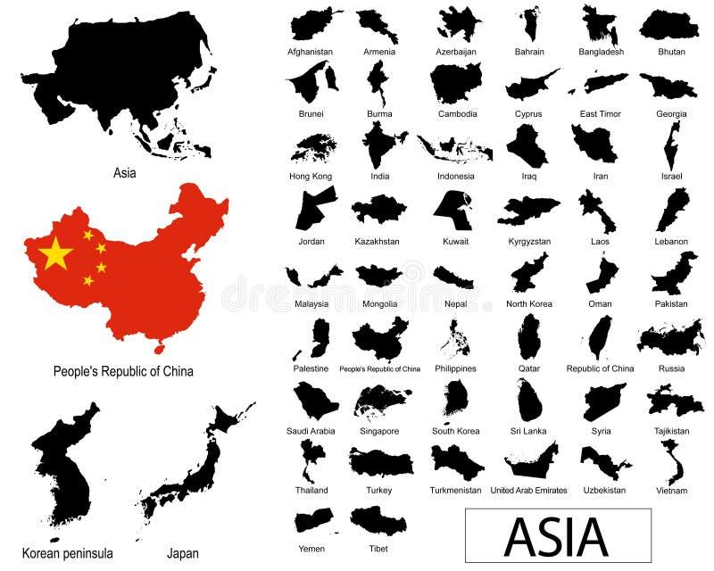 Vectores de los países asiáticos stock de ilustración