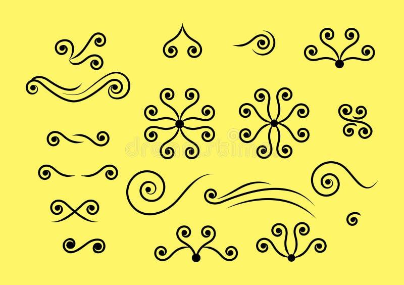 Vectores del remolino en fondo amarillo stock de ilustración