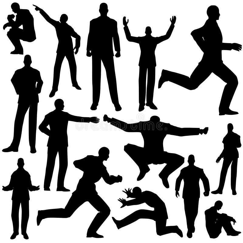 Vectores masculinos de la silueta del hombre de negocios ilustración del vector