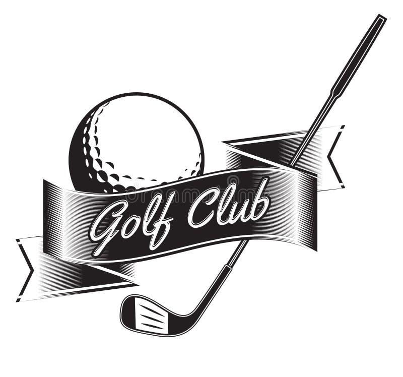 Vectoretiket van golf Embleem van golfkampioenschap Vector illustratie royalty-vrije illustratie