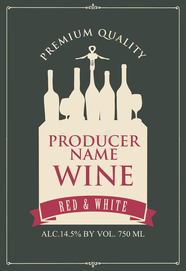 Vectoretiket voor rode en witte wijn met het silhouet van een stilleven van wijnflessen en glazen in retro stijl op dark vector illustratie
