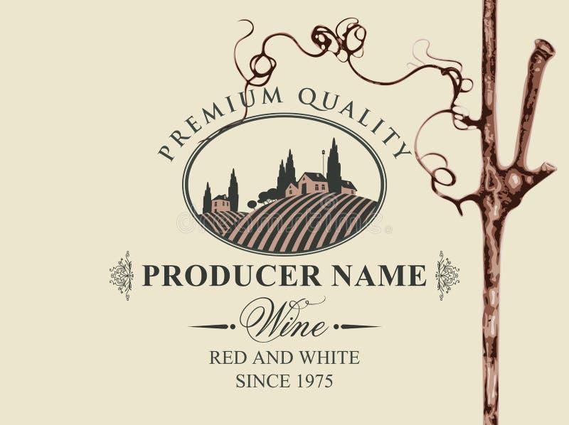 Vectoretiket voor rode en witte wijn met landelijk landschap van wijngaarden en Italiaans dorp in ovaal kader en met binnen wijns vector illustratie