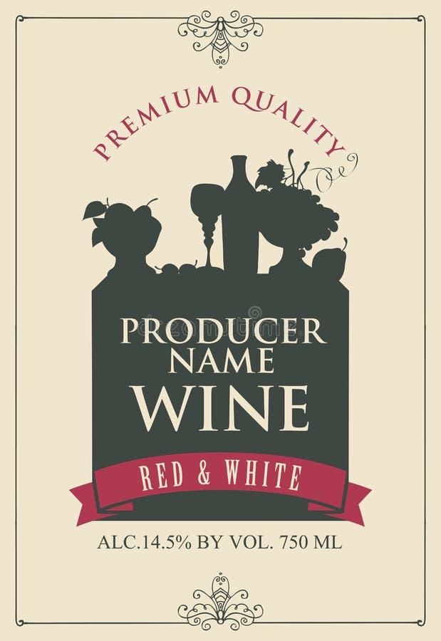 Vectoretiket voor wijn met het silhouet van een stilleven van fles, wijnglas en kom fruit in kader met krullen in retro vector illustratie