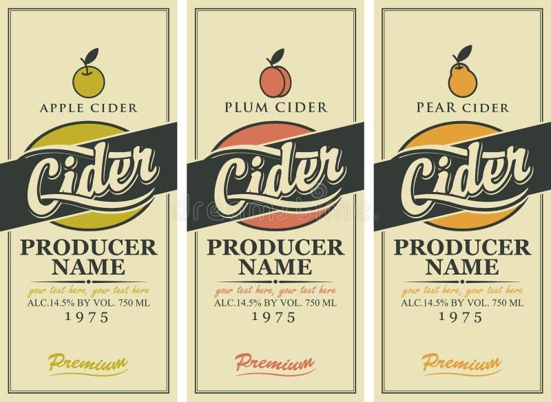 Vectoretiketten voor cider met Apple, pruim en peer stock illustratie