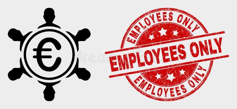 Vectoreuro People Company Pictogram en van Grunge Werknemers slechts Verbinding royalty-vrije illustratie
