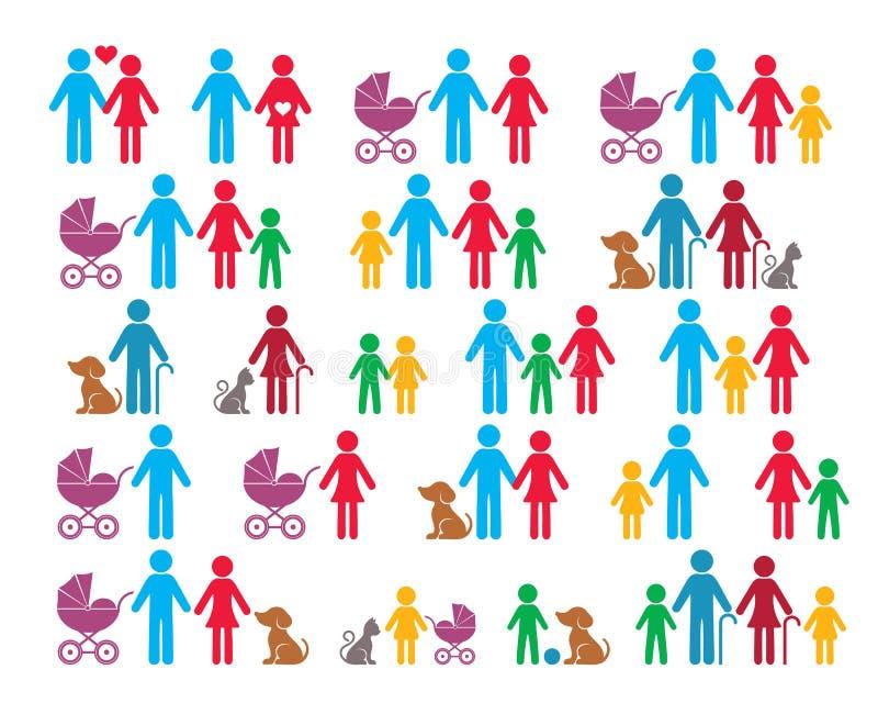 Vectorfamilie infographic pictogrammen vector illustratie