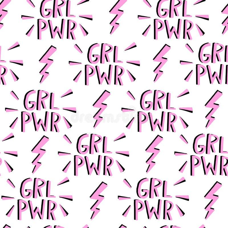 Vectorfeminisme naadloos patroon Feministische Beweging royalty-vrije illustratie