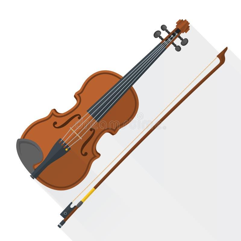 Vectorfiddle van de kleuren vlakke stijl viool stock illustratie