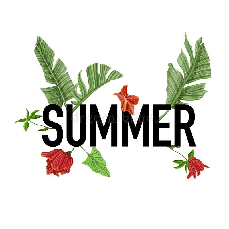 Vectorflard voor t-shirts met palm en bloemen stock illustratie