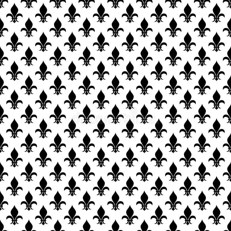 Vectorfleur DE lis naadloos patroon in zwart-wit royalty-vrije illustratie