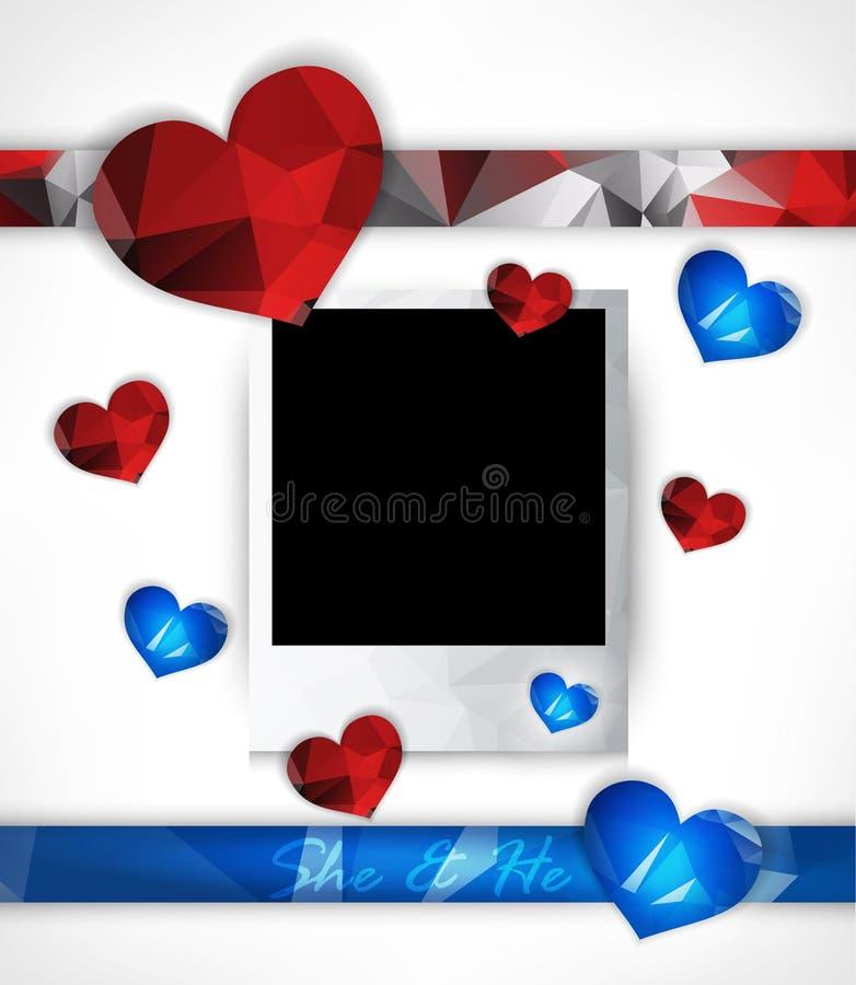 Vectorfotokader voor paren in liefde met harten royalty-vrije illustratie