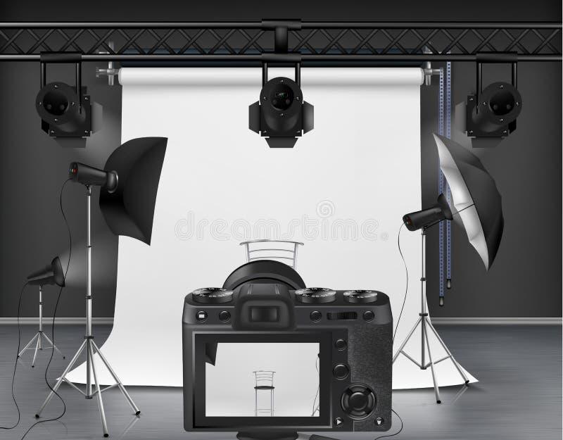 Vectorfotostudio met materiaal voor fotografie stock illustratie