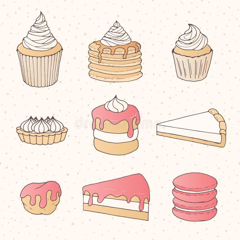 Vectorgebakjeinzameling van cakes, pastei, taartjes, muffins en ecla vector illustratie