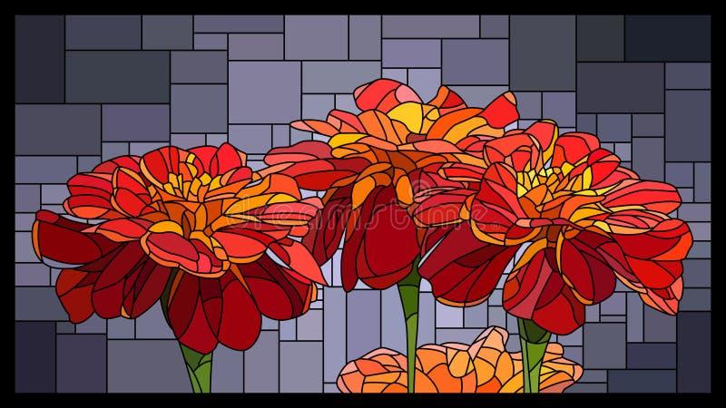 Vectorgebrandschilderd glasvenster met bloeiende rode goudsbloemen royalty-vrije illustratie
