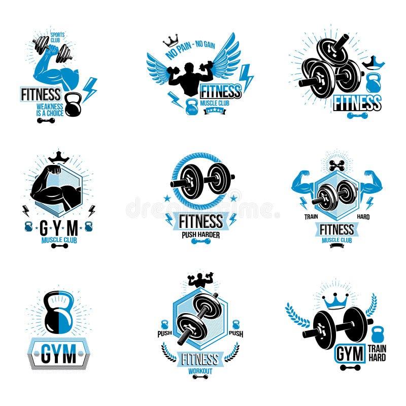 Vectorgeschiktheid en atletiekthemasymbolen en motievenpost vector illustratie
