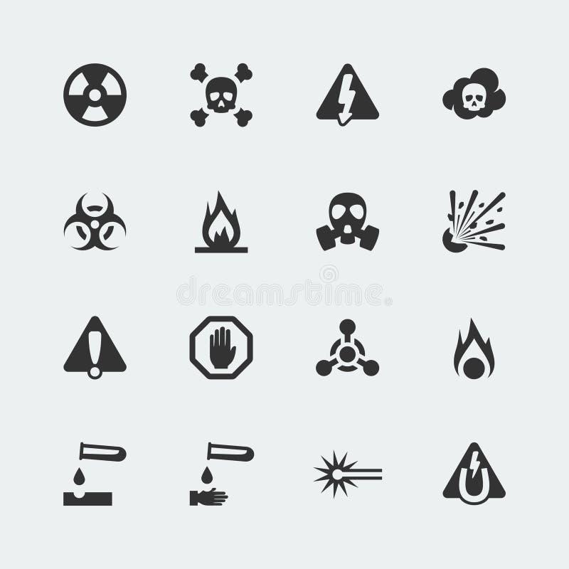 Vectorgevaar en gevaars geplaatste pictogrammen royalty-vrije illustratie