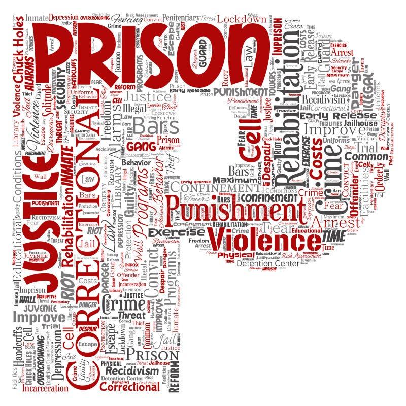 Vectorgevangenis, rechtvaardigheid, de doopvontp rood van de misdaadbrief vector illustratie