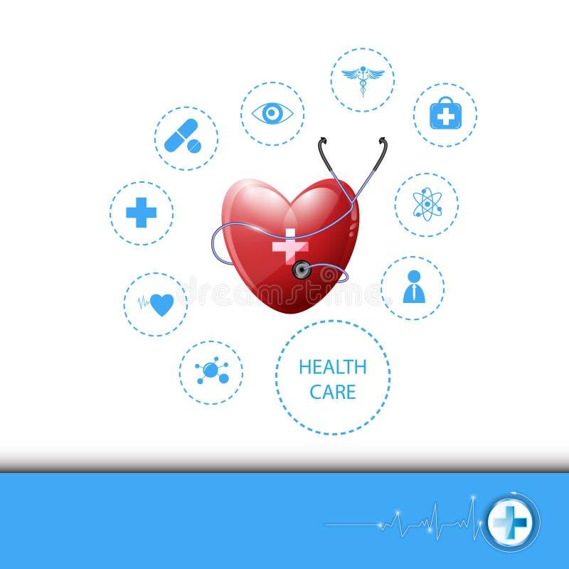 Vectorgezondheidszorg als achtergrond en medisch concept stock illustratie