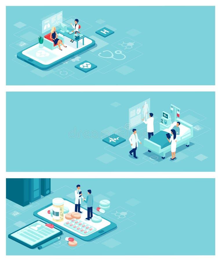 Vectorgezondheidszorg, artsen en het geduldige concept van de zorgbanner met mensen en voorwerpen royalty-vrije illustratie