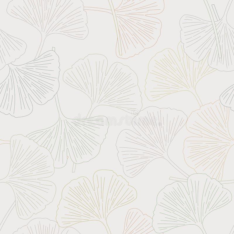 Vectorginkgo-Bladeren in Aardachtig Gouden Groen Bruin Gray Seamless Repeat Pattern stock illustratie