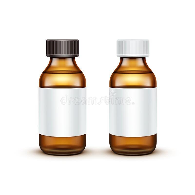 Vectorglas Medische Fles met Vloeibare Vloeistof stock illustratie