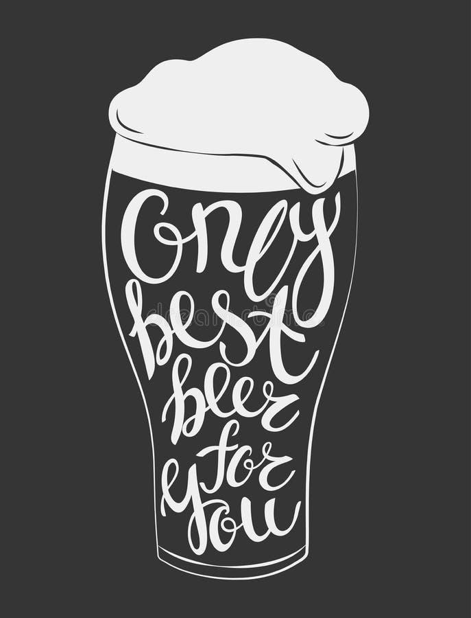 Vectorglas van bier het van letters voorzien royalty-vrije illustratie