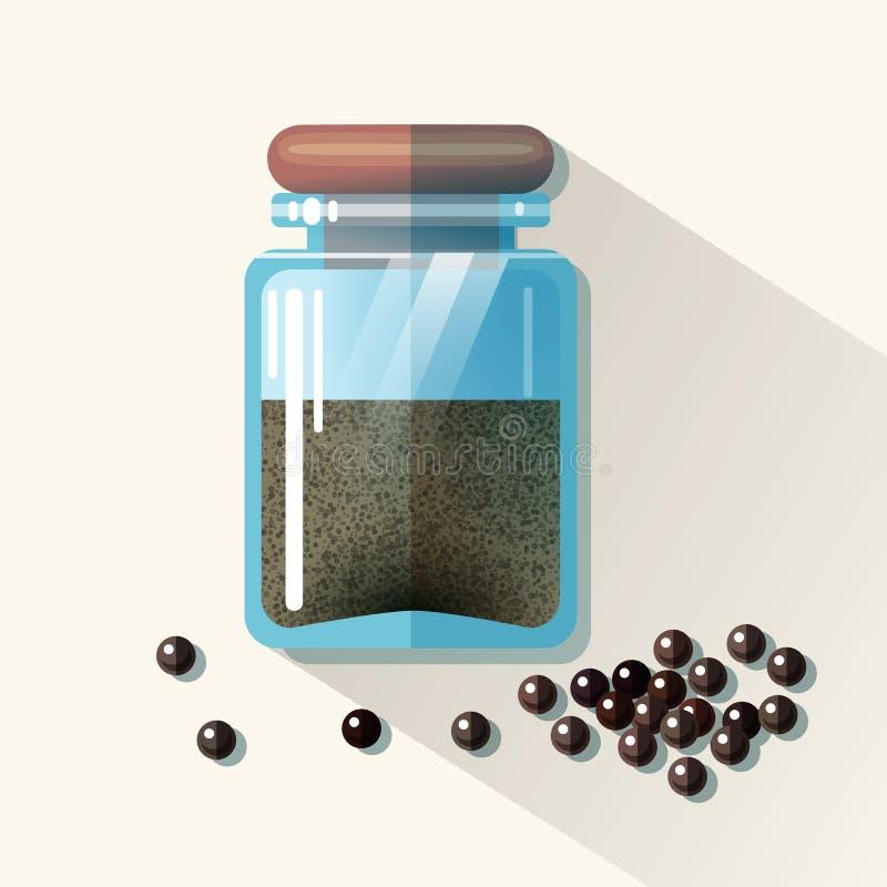 Vectorglaskruik met zwarte peper stock illustratie