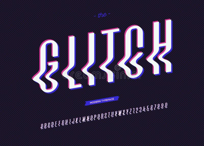 Vectorglitch doopvont in typografie vector illustratie