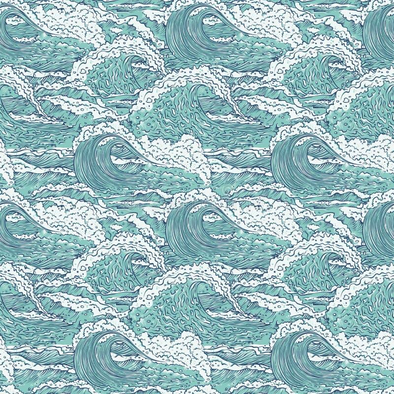 Vectorgolven overzees oceaan naadloos patroon Grote en kleine azuurblauwe uitbarstingenplons met schuim en bellen Overzichtsschet royalty-vrije illustratie