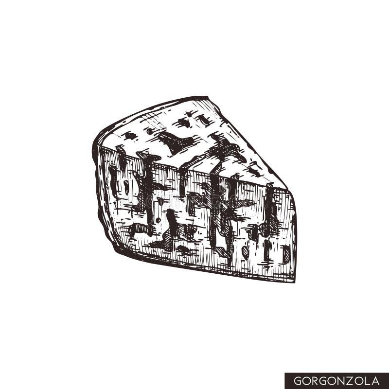 Vectorgorgonzola-schetsen Hand getrokken Italiaanse schimmelkaasillustratie Uitstekend traditioneel voedsel die op witte achtergr stock illustratie