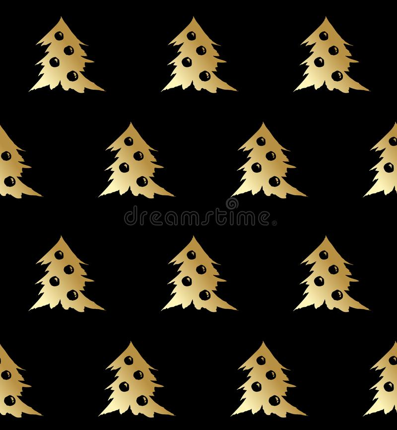 Vectorgoud van het kerstboom het naadloze patroon op zwarte stock illustratie